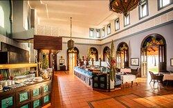 Interior view of breakfast buffet setup at Quirimbas Restaurant