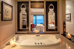 Interior view of Spa Bath in Avani Spa treatment room with ocean view