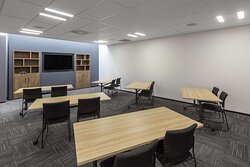Classroom type seating arrangement in the Cortina conference room