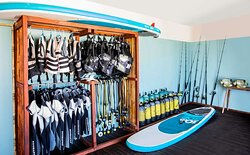 Interior view of scuba diving and paddling equipment in Activities Center