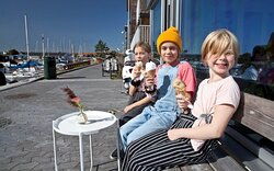 Enjoying a sunny day and some gelato from Limhamns Glassmejeri.