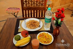Enjoy fresh and delicious breakfast at The Chandrangan - Fort View Roof Top Restaurant.