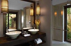 Interior view of double vanity in Lagoon Pool Suite bathroom