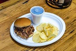 Kids Menu $4.99 - pulled pork sandwich, chips & kids drink
