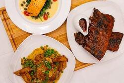 classic ribs, salmon piccata, roasted chicken vesuvio