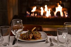 delicious meal by a warm fire