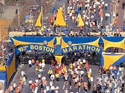 The annual Boston Marathon finish line is just under 5 miles away.