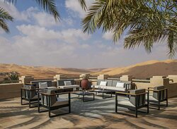 Lounge area on Bar & Lounge terrace with desert view