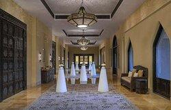 Coffee break set-up in ballroom foyer