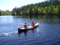 Go canoeing on small wilderness lakes in the forest