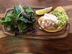 Open crab & avocado sandwich