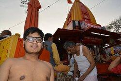 My son going for the Holy bath Har ki Pauri, Haridwar