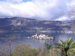 View on San Giulio Island in Lake Orta from Orta San Giulio