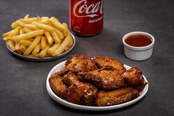 12 Wing Combo- (6) wings and (6) drumsticks with your choice of a Side and a Drink.