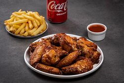 18 Wing Combo- (9) wings and (9) drumsticks, (2) Sides and (2) Drinks with your Choice of a Dipping Sauce.