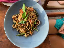 Amazing spicy seafood pasta!