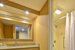 Guest Bathroom with separate vanity and shower areas.
