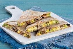 Garden Quesadilla (Vegetarian)- Quesadilla with Cheddar Cheese, Avocado Mash, Seasoned Corn, Roasted Mushrooms. Served in a toasted wheat wrap.