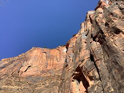 On the trail at the top of Zion Canyon.