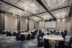 Banquet setup in the Grand Chambray ballroom