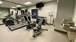 Our fitness center features cardio equipment, free weights & more