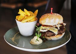 Our famous Brewery Burger with rustic fries!