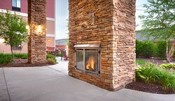 Outside fireplace that keeps you nice and warm during cold nights