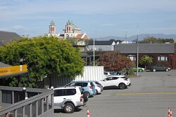 View from the porch on the 1st floor, just next to rooms 5 and 6, towards Timaru Basilica