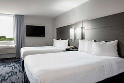 Newly renovated guest room with 2 beds