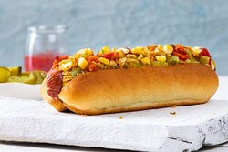 DIY Hotdog- Build your own beef hot dog with your choice of toppings, sauce and Get Free Cookie or Brownie.