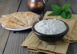Tzatziki …….. Greek Yogurt, Cucumber , Dill ,Mint , Garlic , Serves with Pita Bread
