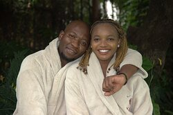 Couple sitting in the garden after their relaxing treatments