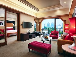 Suite with pool view and walked out balcony