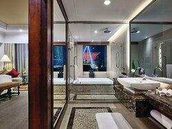 Bathroom with double-ended bathtub
