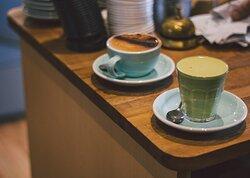 Mocha and Matcha latte