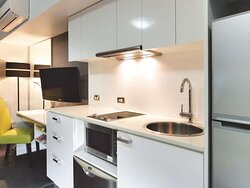 Interior view of kitchen in City Scape room