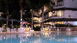 Hotel's natural hot spring water swimming pool at night