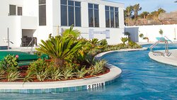 Lazy River surrounds a beautifully landscaped island