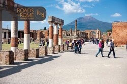The Forum of Pompeii and the Vesuvius in the background