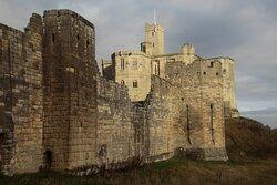 Warkworth, Northumbria, England, United Kingdom, Warkworth Castle - Montagu Tower, curtain walls and keep.