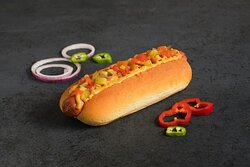 Chili Cheddar Hotdog- Beef Hot Dog with Chili Cheddar Cheese Sauce and your choice of Free Toppings and Sauce.