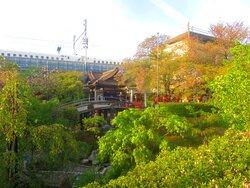 神龍池と太鼓橋と新幹線