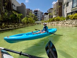 Kayaking in the canals at Lagunas Mayakoba where We can take You to & from the Cancun Airport