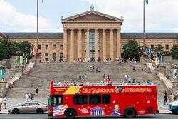 Double Decker Hop on -Hop off  Philadelphia Museum of Art aka Rocky Steps