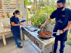 Our hosts cooking our vegetable and tortillas.  The staff was so kind and made sure everyone had a really fun time!