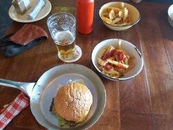 Jerk Chicken Burger and chips