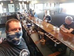 Having fun working the bar.