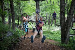 Challenge yourself to all 65 elements in the Aerial Adventure Park.