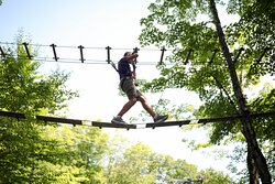 Treetop to treetop in all 5 levels of the Aerial Adventure Park