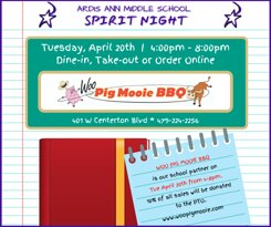 April 20th Spirit Night supporting Ardis Ann Middle School.  10% of sales donated to the PTO.